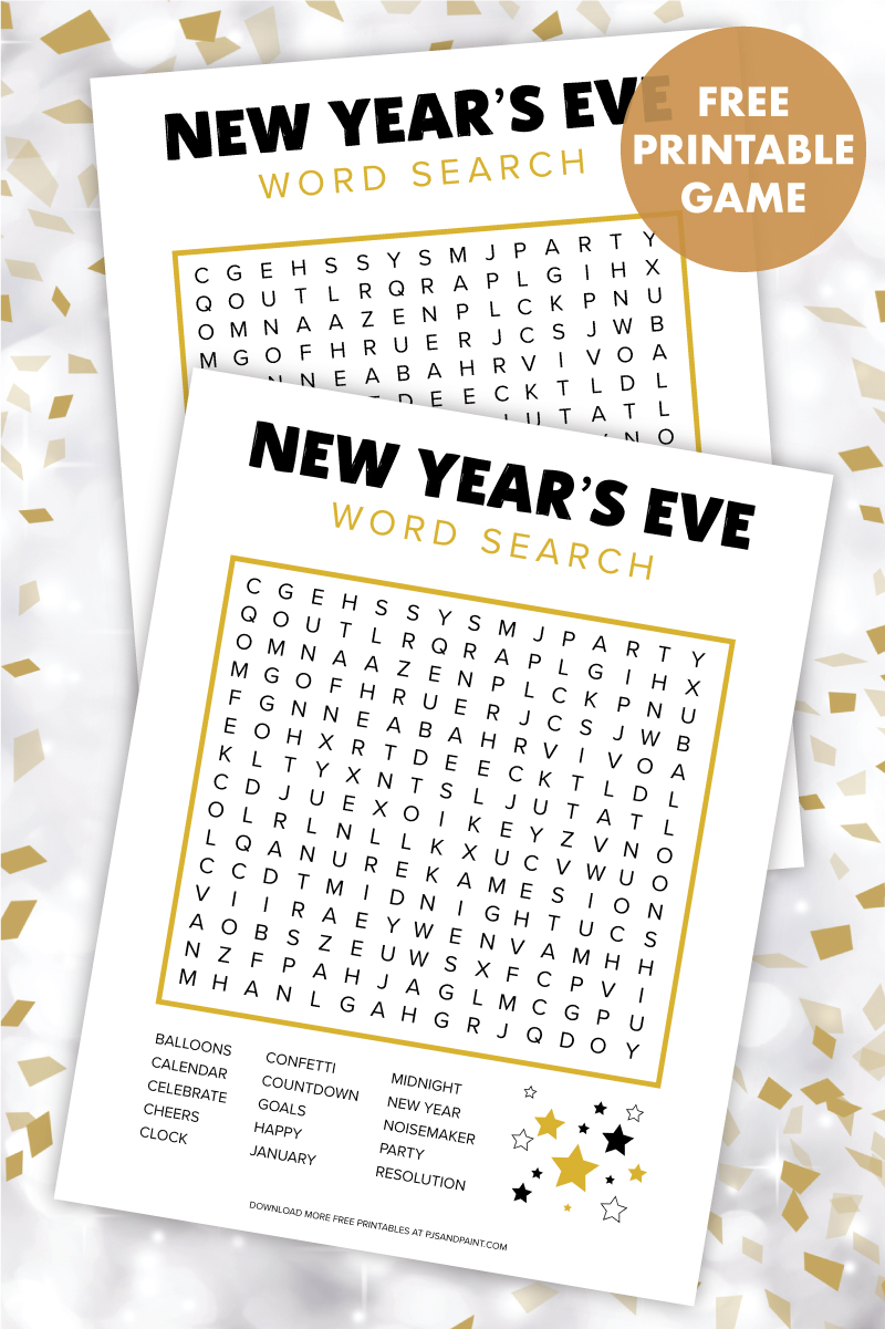 new years eve word search game