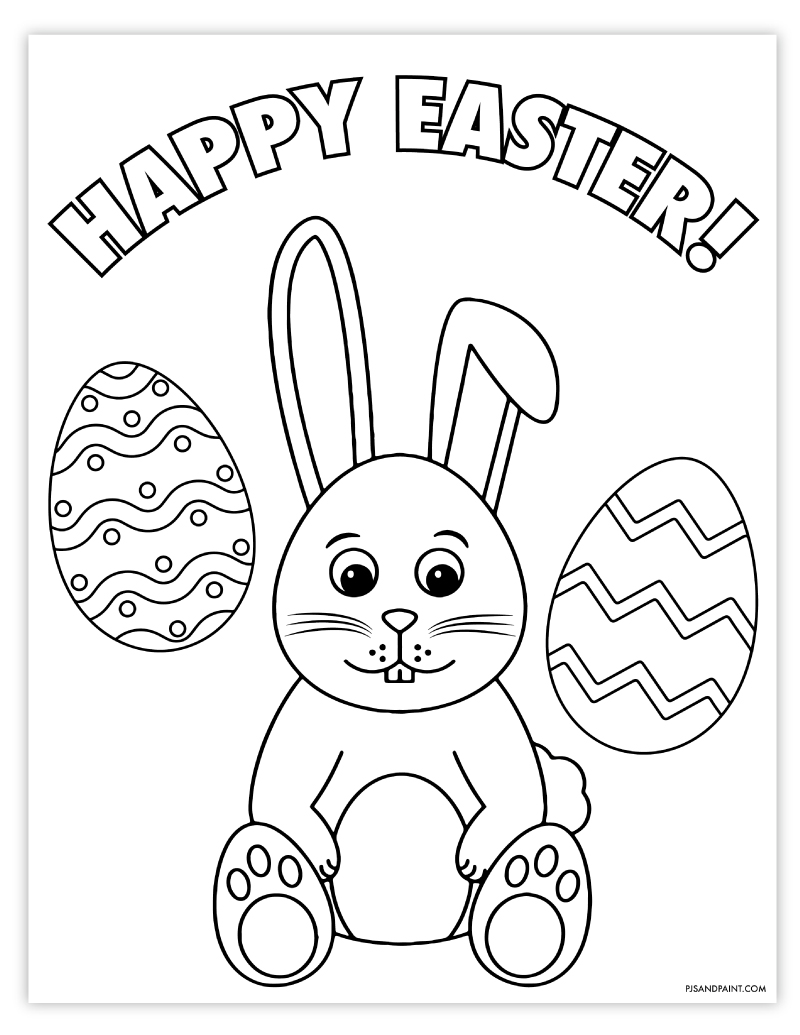 Free Printable Easter Coloring Page Pjs And Paint