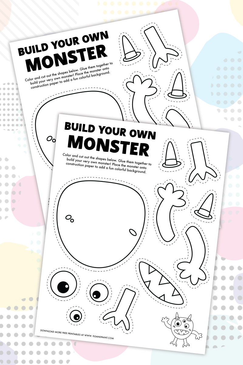 build your own monster coloring page