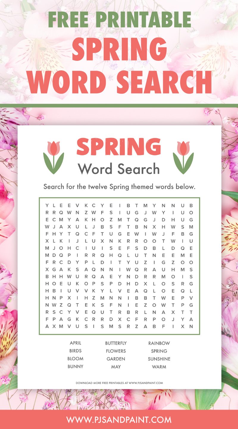 free printable spring word search pinterest