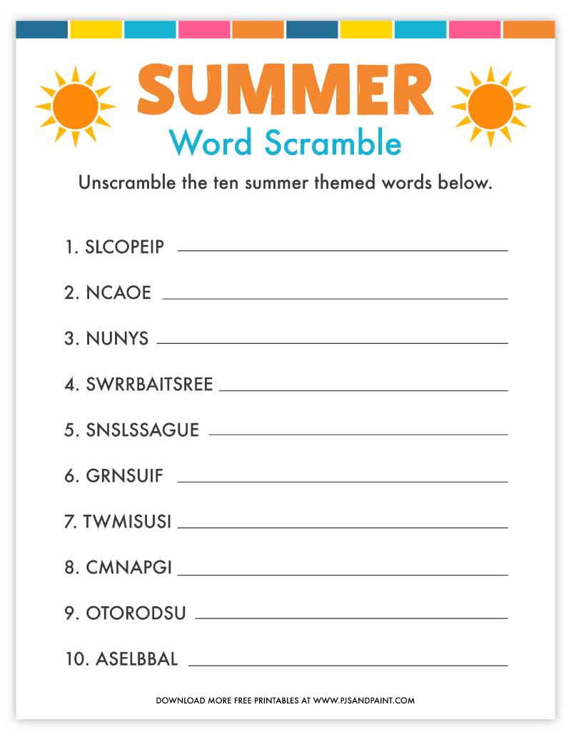 free printable summer word scramble