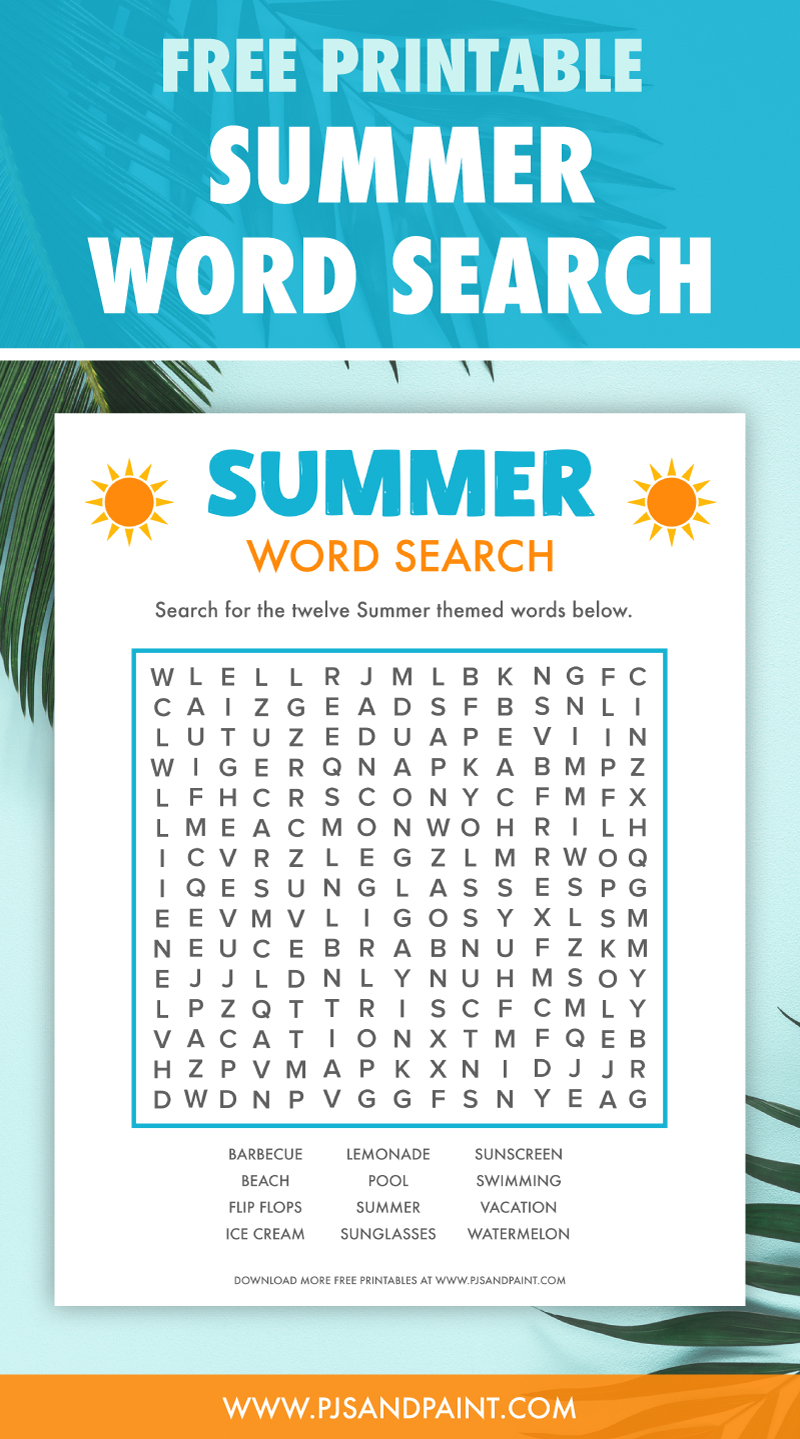free printable summer word search pinterest