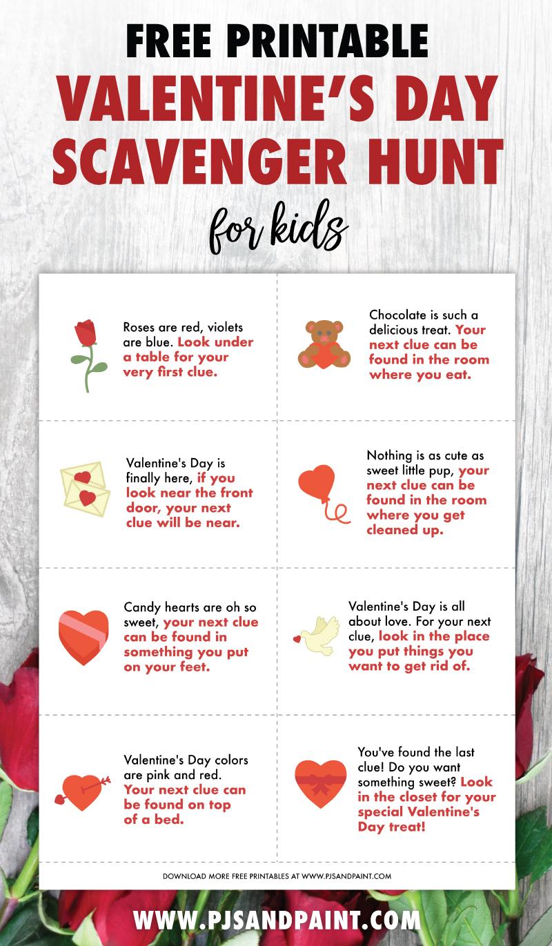 free printable valentines day scavenger hunt pinterest