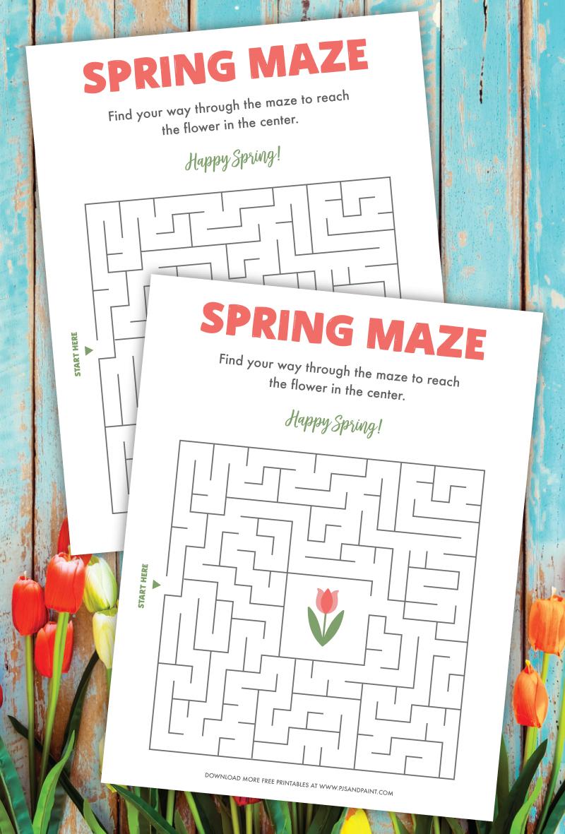 spring maze printable