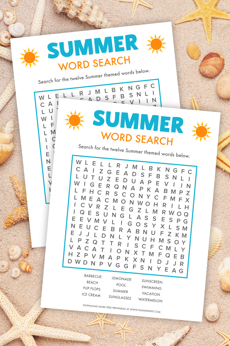 summer word search game