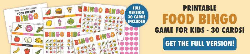 full version food bingo banner