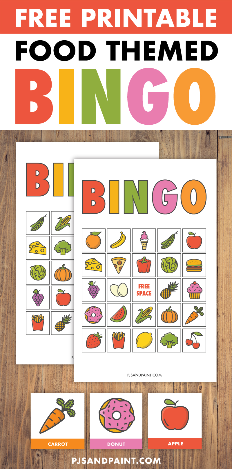 free printable bingo for kids food themed