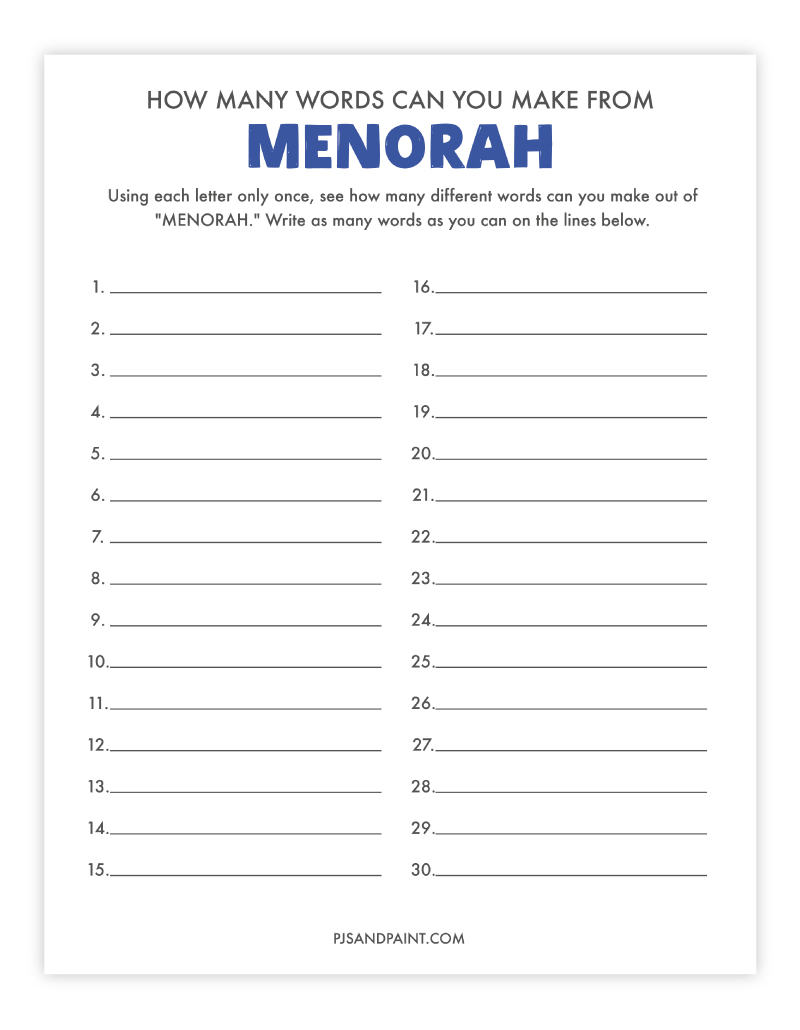 how many words can you make from menorah
