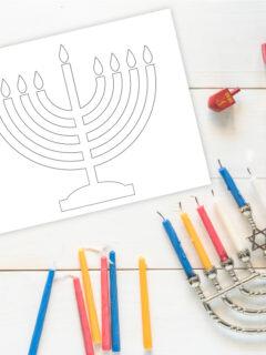 menorah coloring page thumbnail