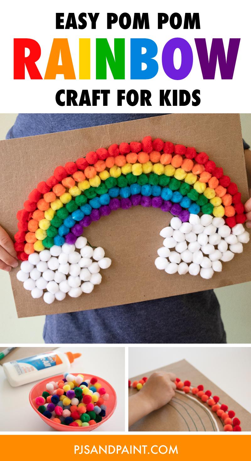 easy pom pom rainbow craft for kids