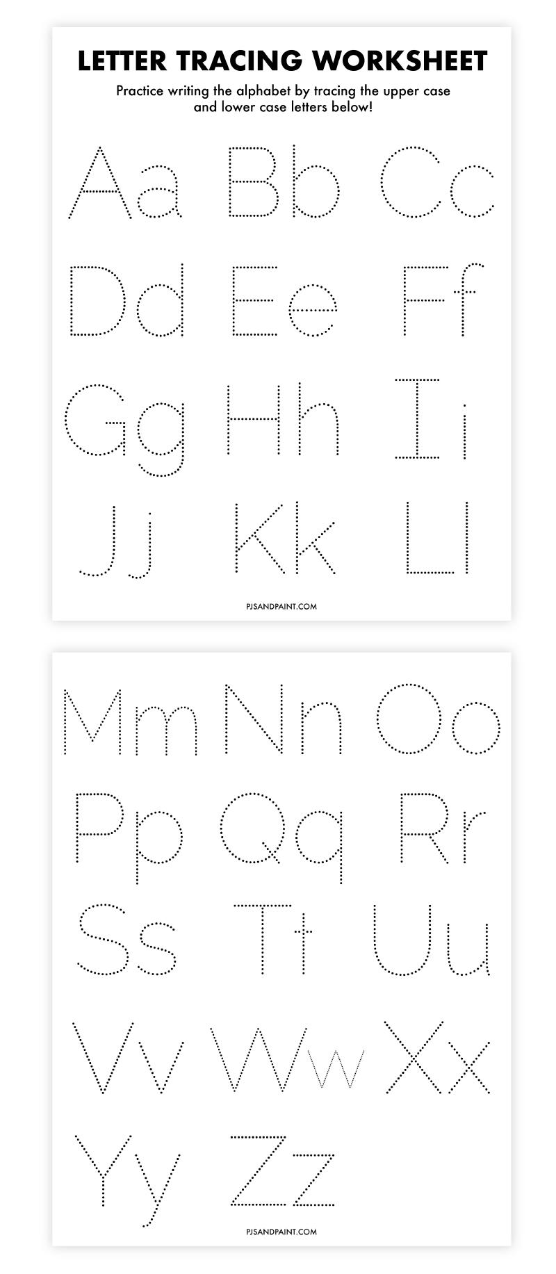 letter tracing worksheet