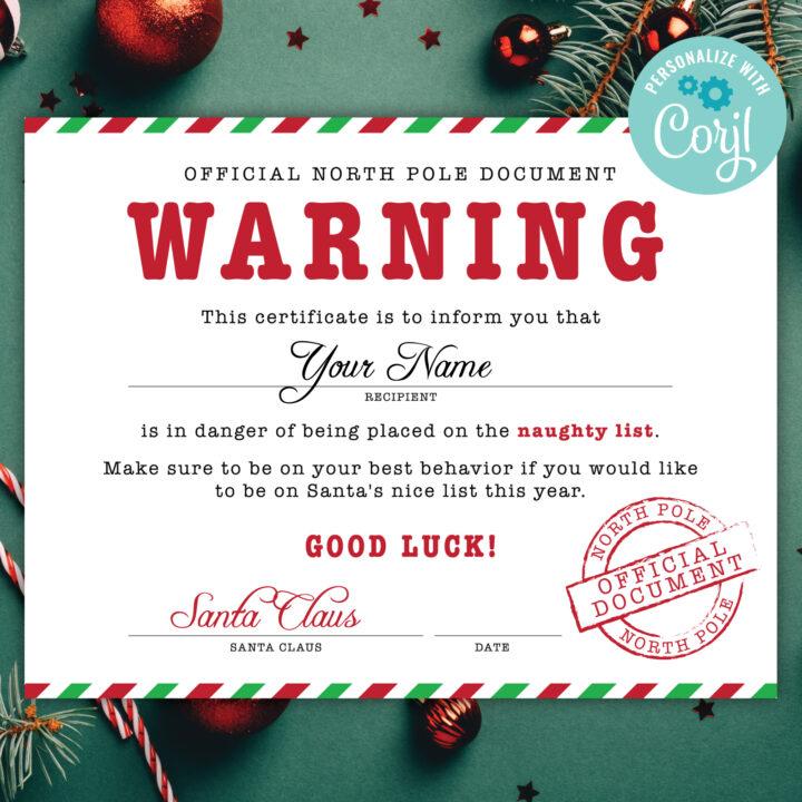 santa naughty list certificate