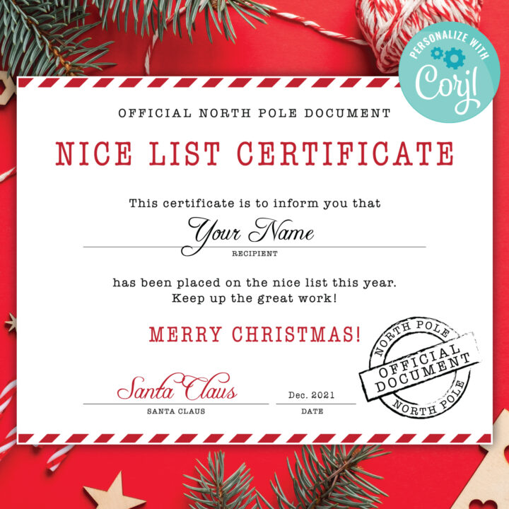 santa nice list certificate